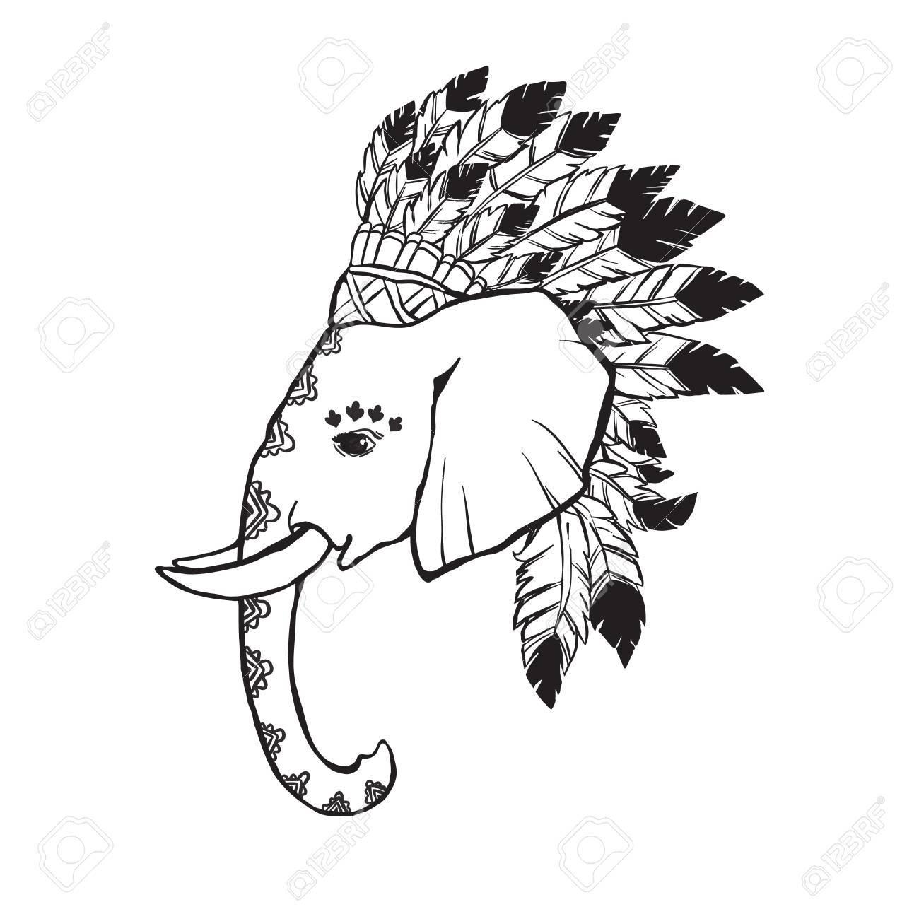 1300x1300 Elephant Head With American Indian Chief Headdress. Print