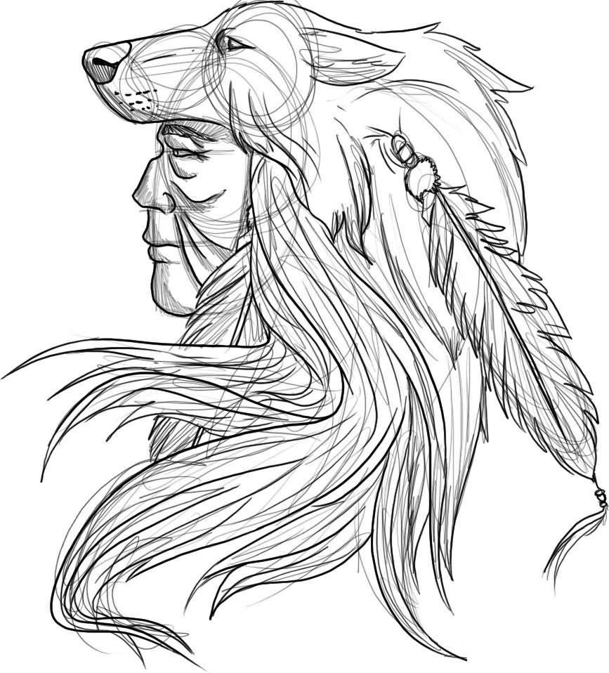 867x958 Indian Chief Wolf Tattoos