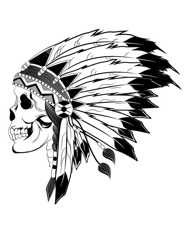 612x792 Indian Chief Skull Illustration Art Skull
