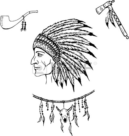429x450 Man In The Native American Indian Chief. Indian Feather Headdress