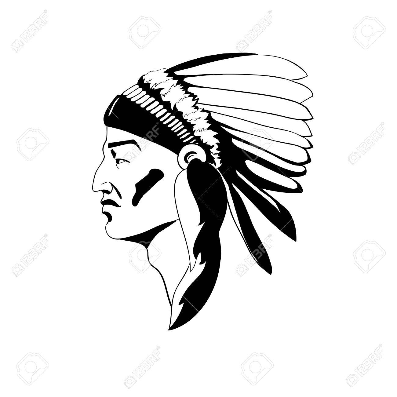 1300x1300 A Stylized Profile Of The Indian Chief In Traditional Ceremonial