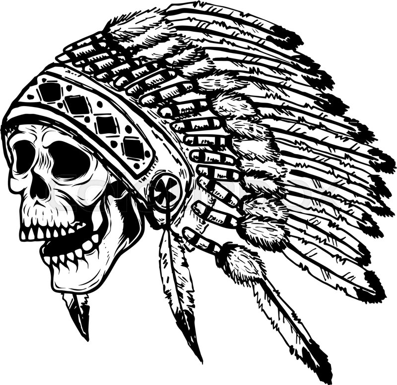 800x777 Skull In Native American Indian Chief Headdress. Design Element
