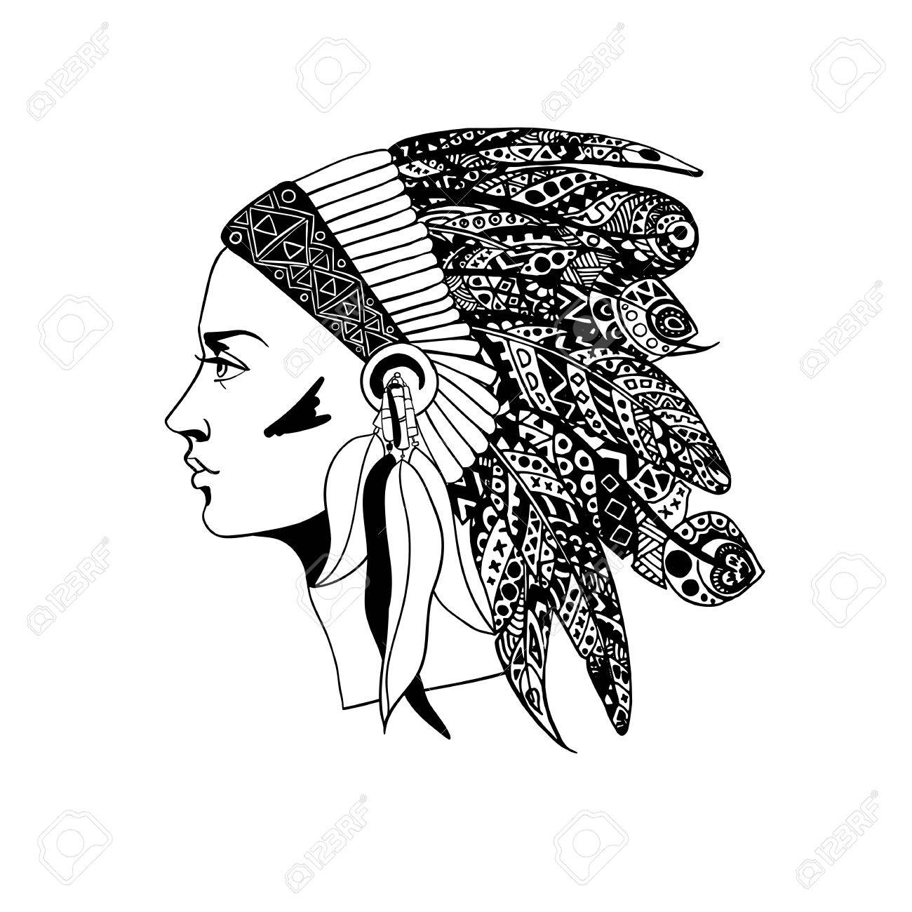 1300x1300 The Profile Of A Girl In Traditional Headdress Of An Indian Chief