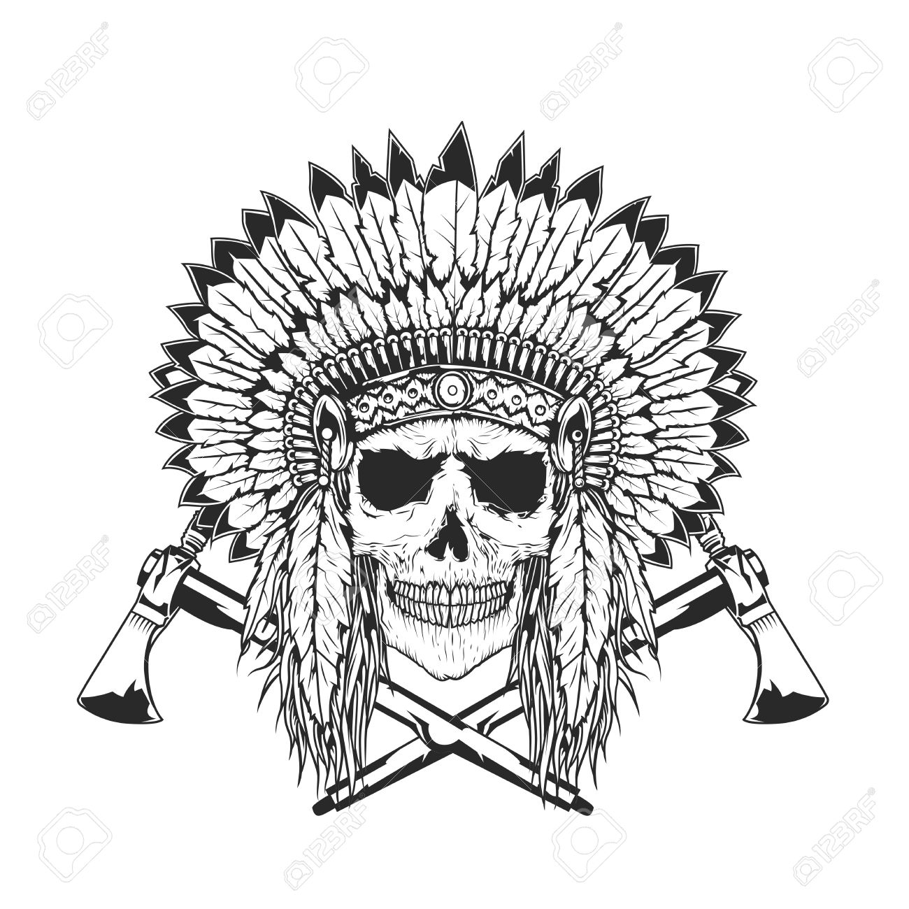 1300x1300 American Indian Chief Skull With Tomahawk. Isolated Hand Drawn