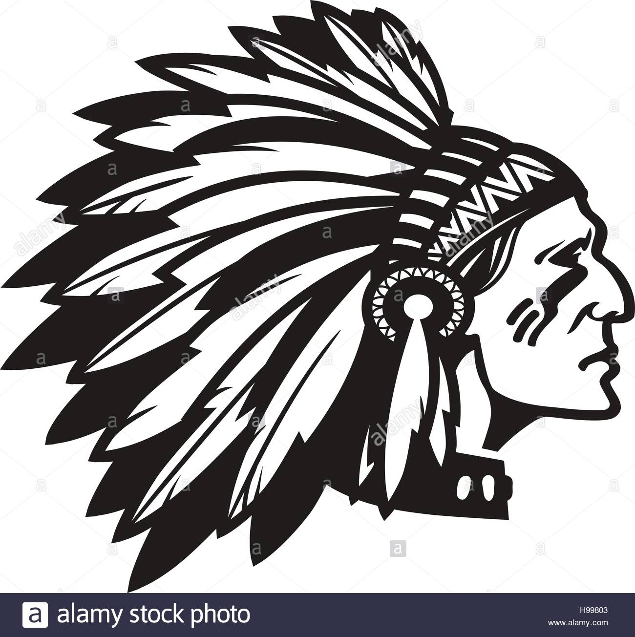 1300x1304 American Indian Chief. Logo Or Icon. Vector Illustration Stock