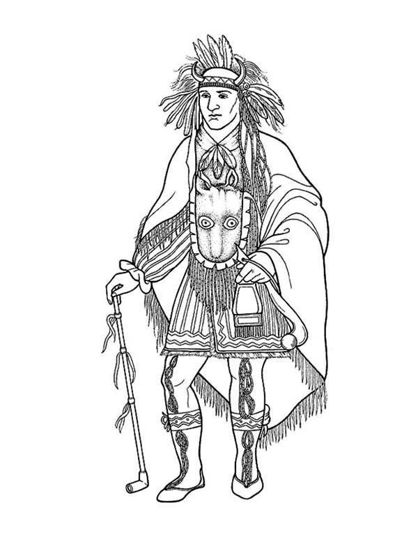 600x777 Awesome Native American Chief On Native American Day Coloring Page