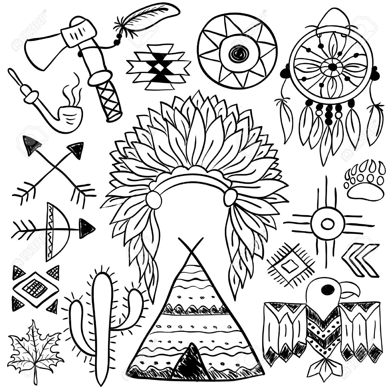 1300x1300 Hand Drawn Doodle Vector Elements Set (vol. 5 Of 9). Native