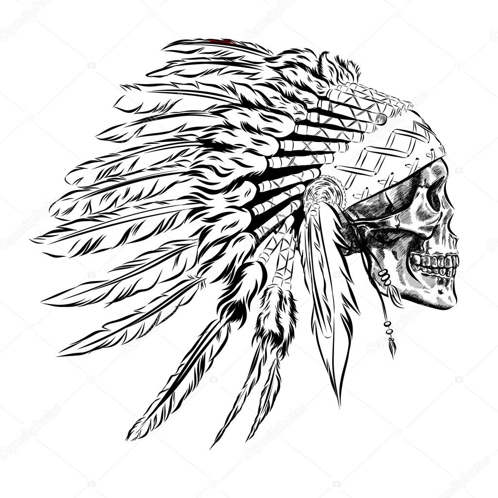 1024x1024 Hand Drawn Native American Indian Feather Headdress With Human