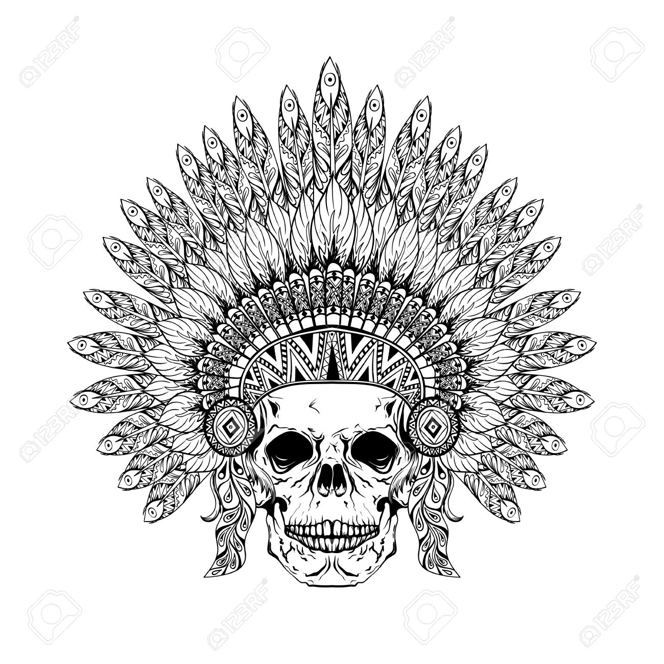 1300x1300 Hand Drawn Skull In Zentangle Feathered War Bonnet, High Datailed