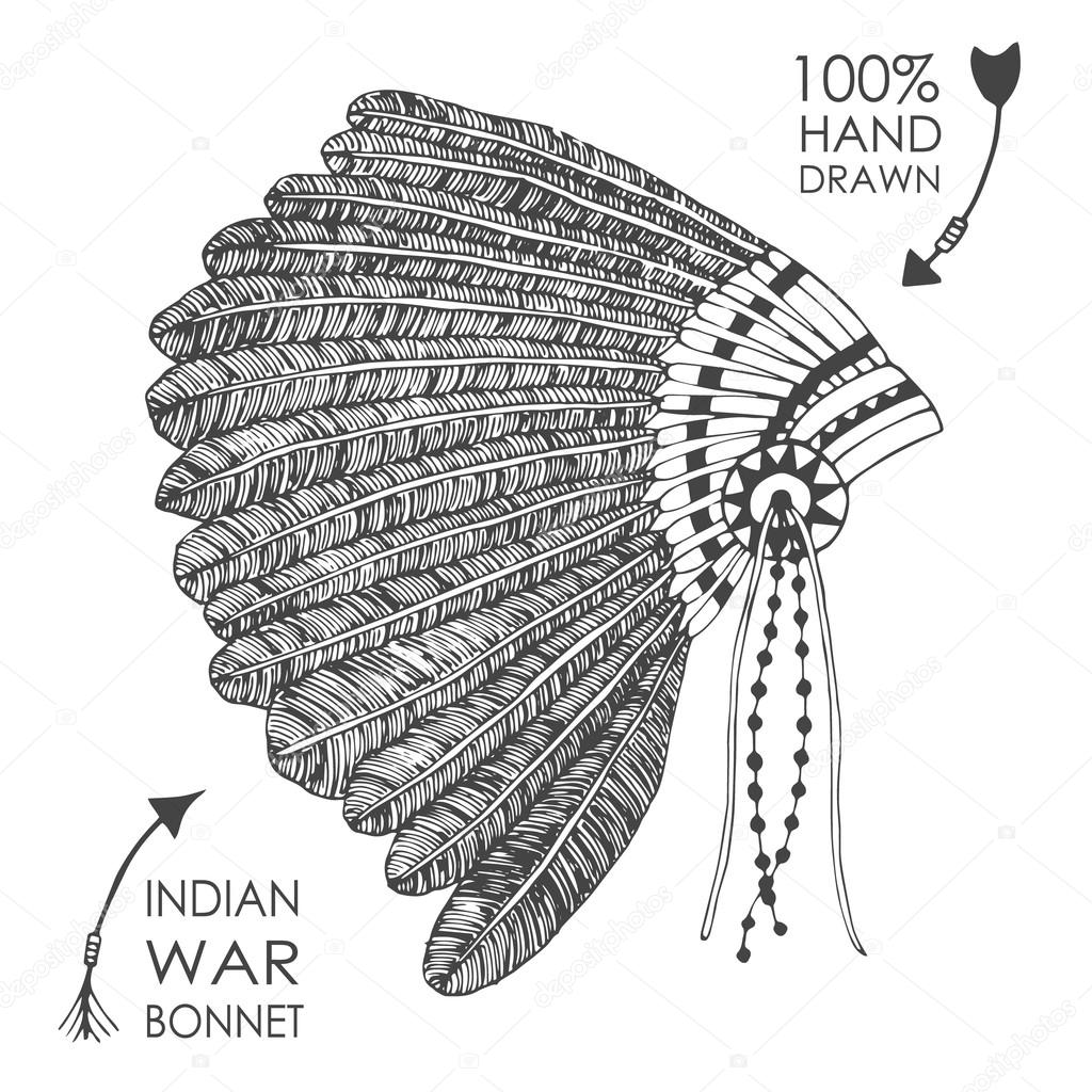 1024x1024 Hand drawn native American indian chief headdress with feathers
