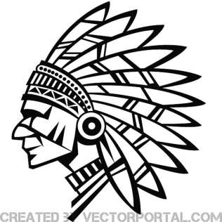 316x316 Indian Chief Wearing a Headdress Vector Art 123Freevectors