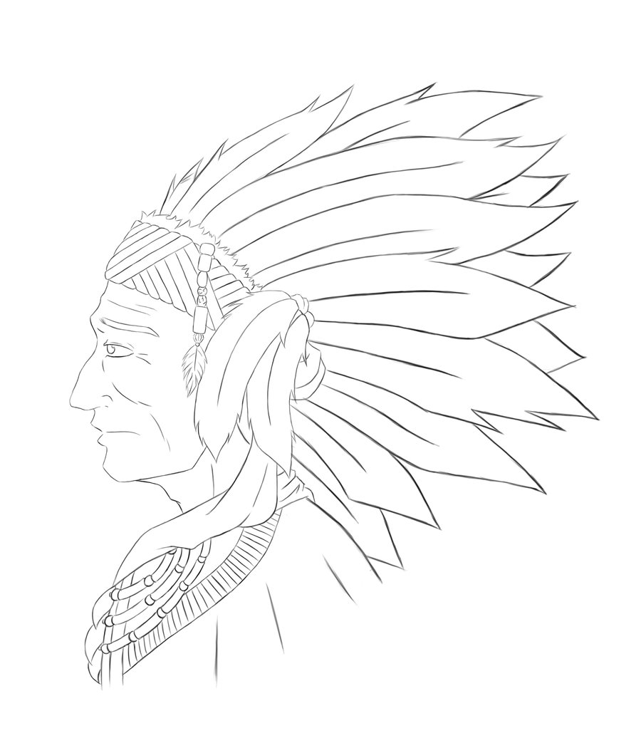 900x1050 Native American Chief Sketch by ViridianSoul on DeviantArt