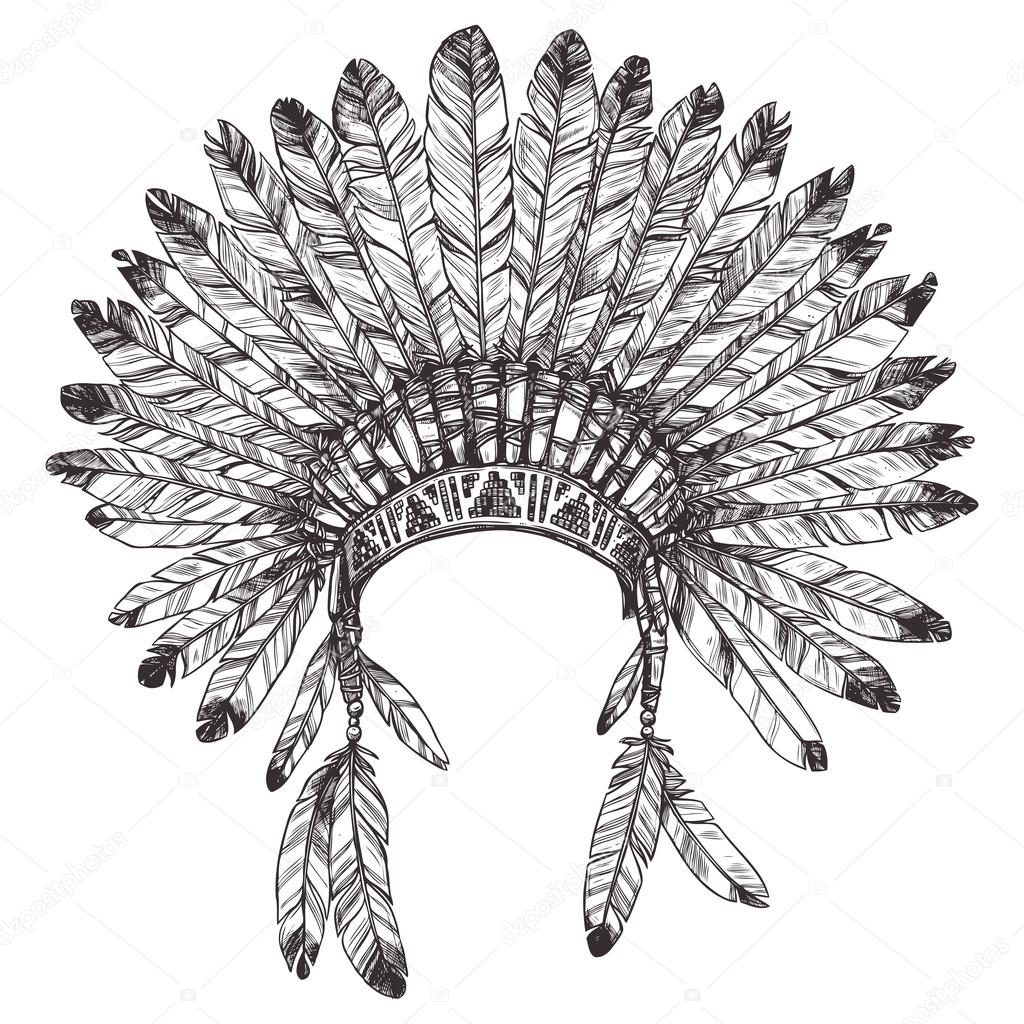 1024x1024 Native American Indian Headdress — Stock Vector © alexrockheart