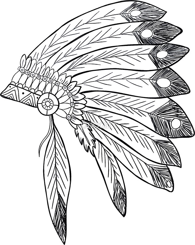 636x800 Native american indian headdress illustration Stickers by pixxart