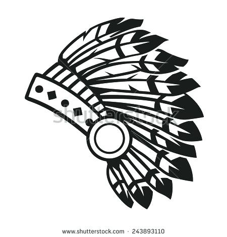 450x470 Simple Indian Headdress Native Headdress Vector Easy Indian