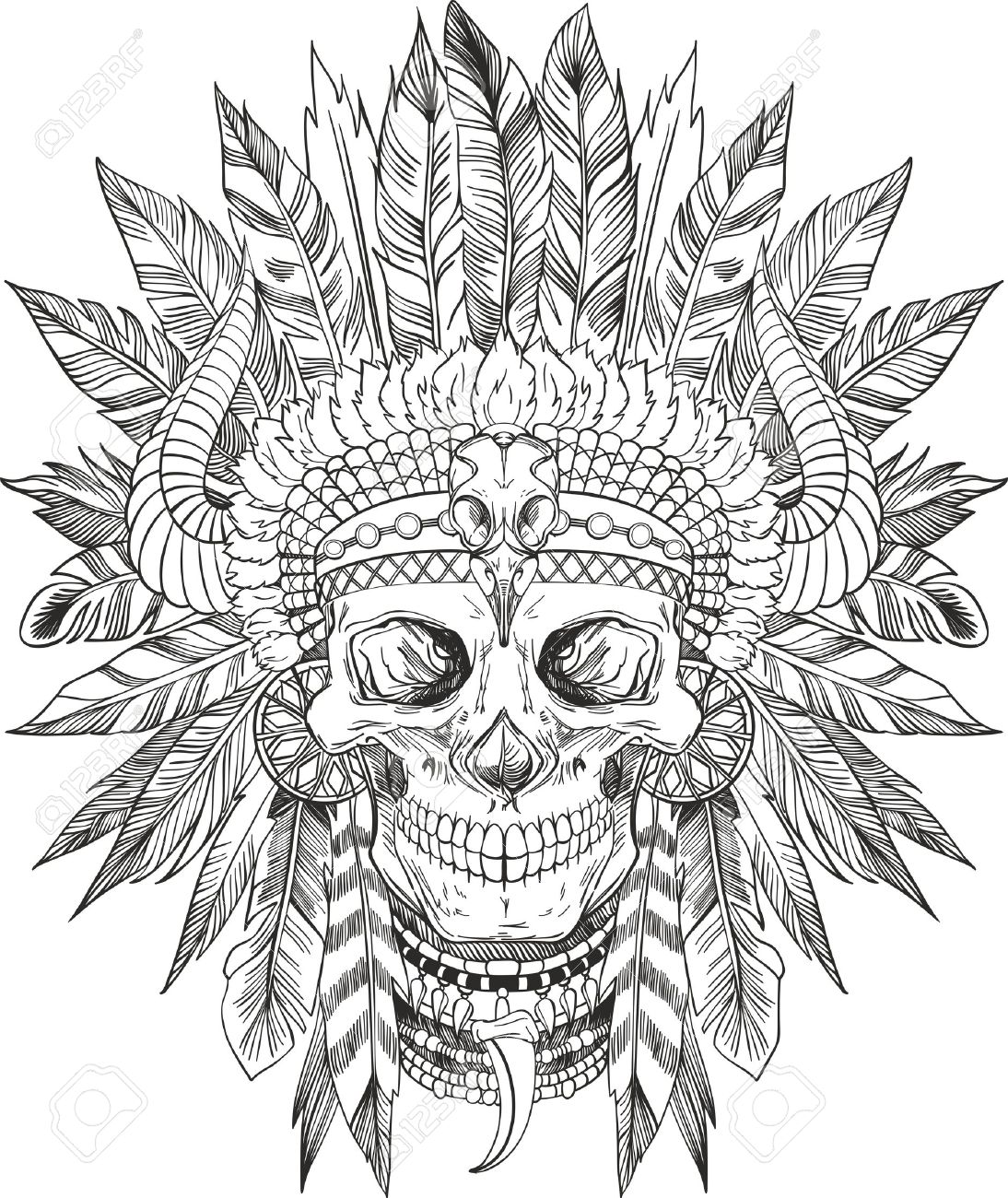 1094x1300 Skull Of Native American In Chief Headdress Royalty Free Cliparts