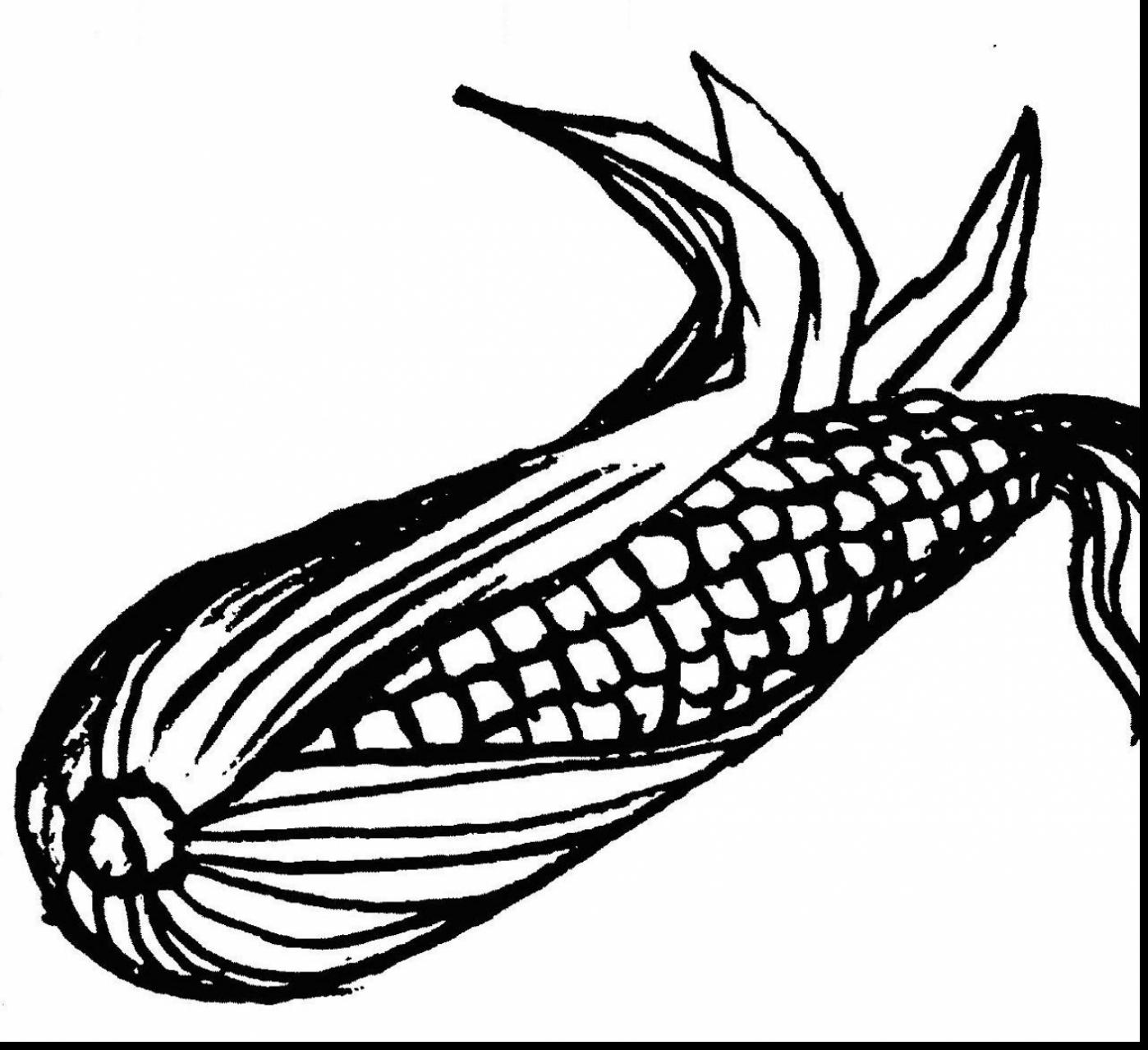 1398x1278 Excellent Impressive Clip Art Ear Of Corn Coloring Page With Corn