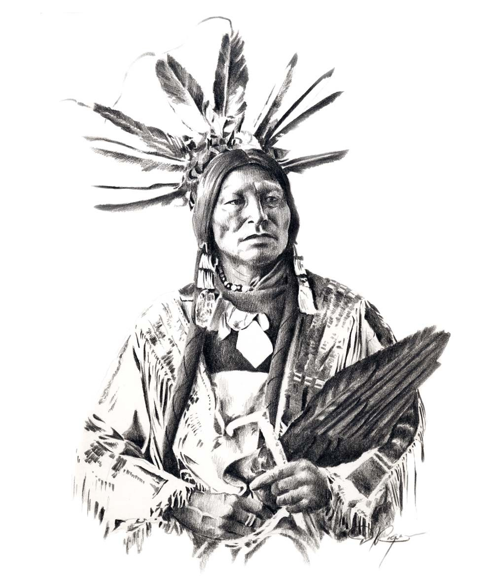 1000x1176 Native American Indian Drawing Chief Many Horns Pencil Drawing