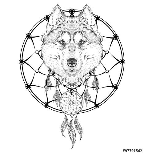 468x500 Animal Hand Drawn Illustration, Wolf Indian Warrior, Native