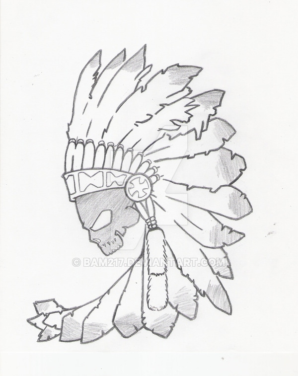 600x757 Black Skull Indian By Bam217