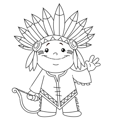 380x400 Outlined Indian Kid Vector Art