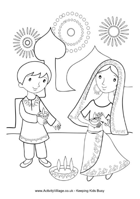 460x655 Diwali Coloring Page Indianollywood Party Theme