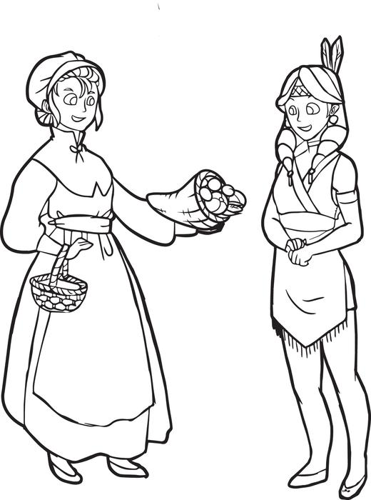 520x700 Free Printable Pilgrim And Indian Coloring Page For Kids