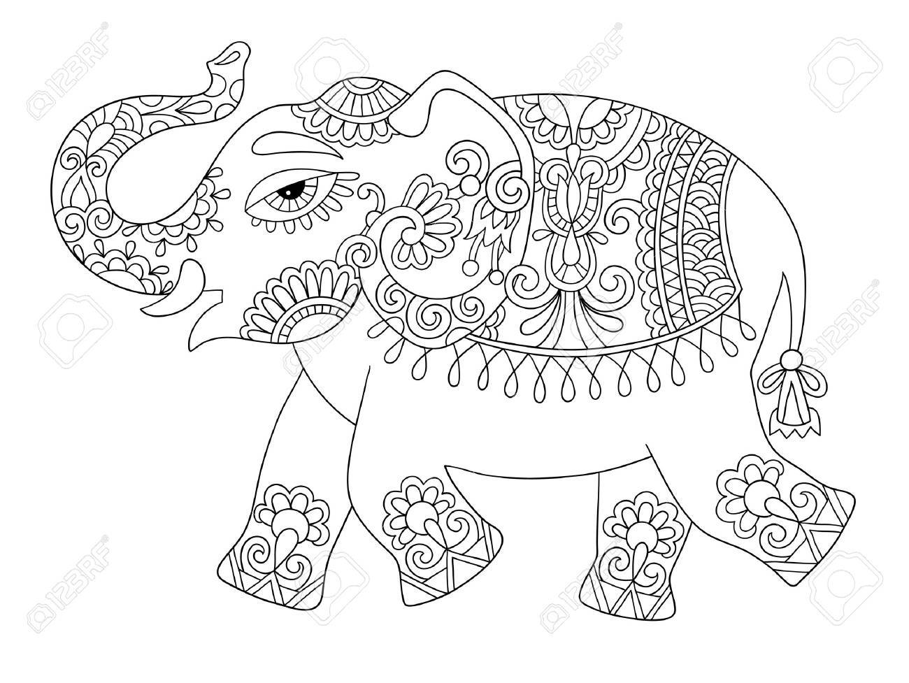 1300x977 Ethnic Indian Elephant Line Original Drawing, Adults Coloring