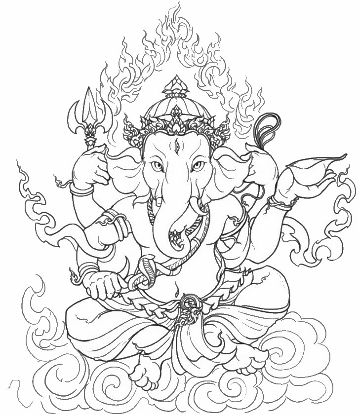 727x841 Hindu Elephant Coloring Pages Hd Drawing Hq Posters
