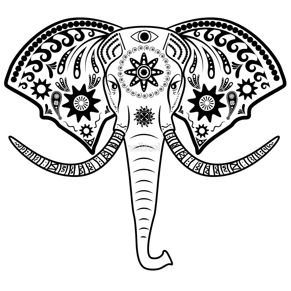 1000x1000 Indian Elephant Face Drawing Elephant Head By Kotliar Redbubble