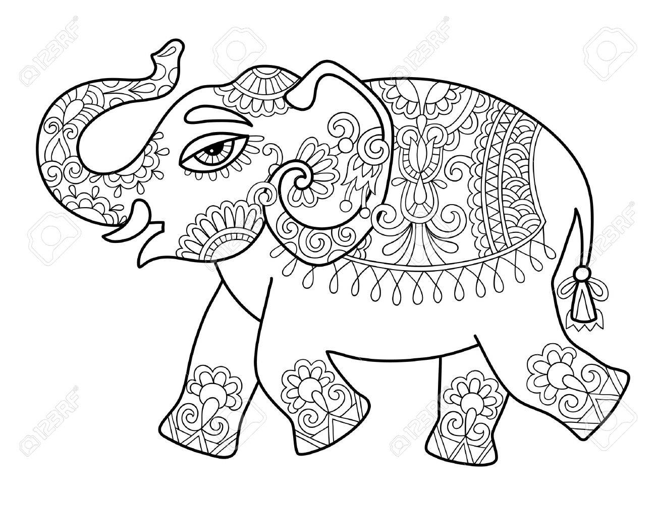 1300x1004 Ethnic Indian Elephant Line Original Drawing, Adults Coloring