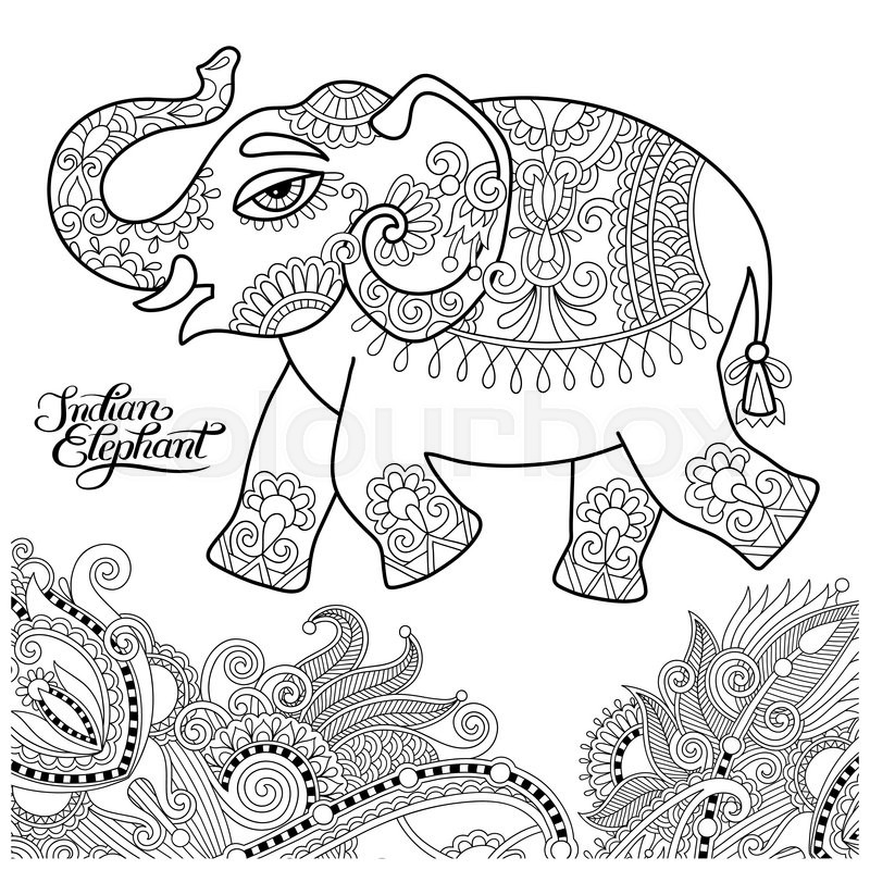800x800 Ethnic Indian Elephant Line Original Drawing, Adults Coloring Book