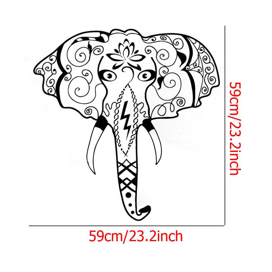 900x900 Indian Elephant Face Ganesha Pattern Wall Sticker Vinyl Art