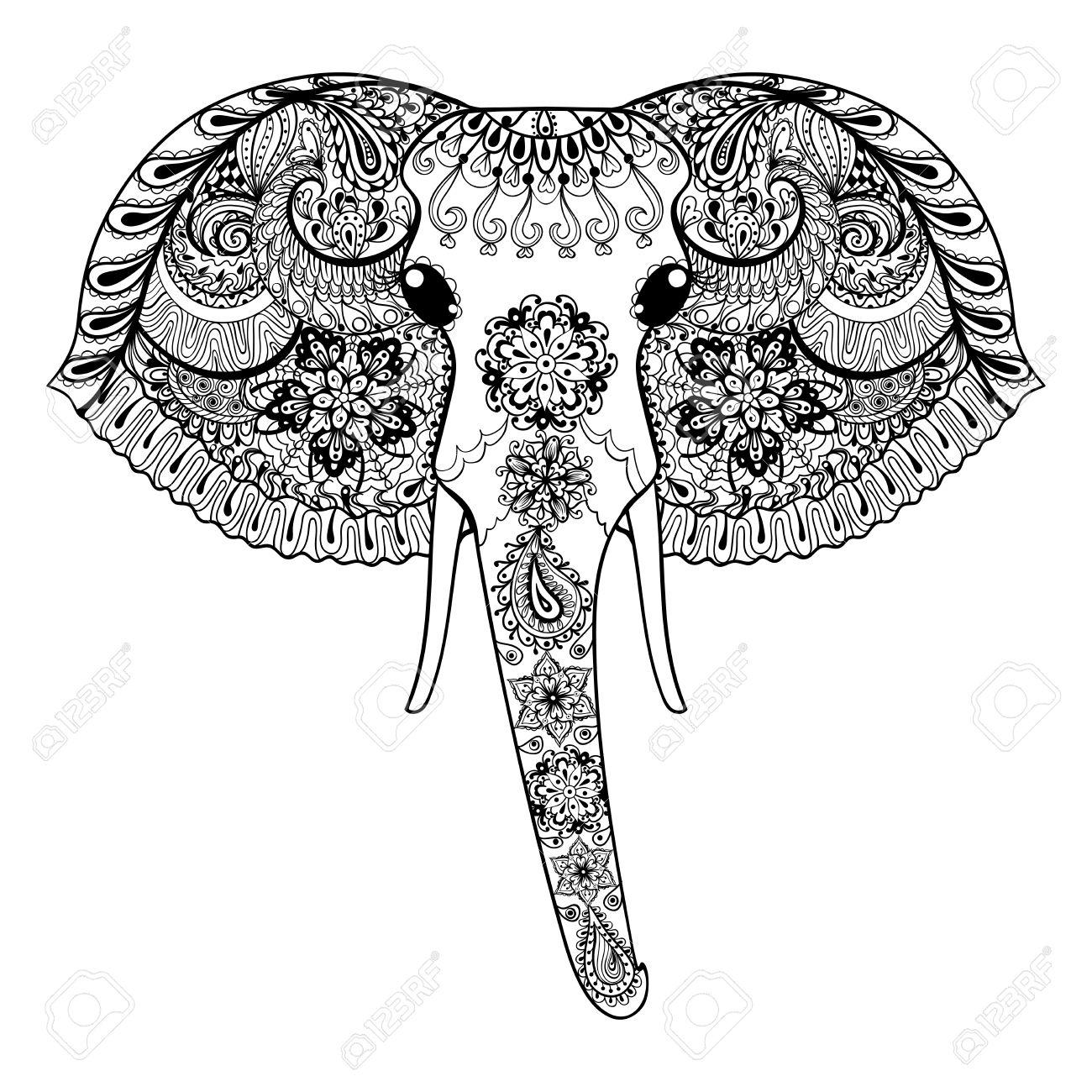 1300x1300 Zentangle Stylized Indian Elephant. Hand Drawn Paisley Vector