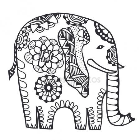 450x450 Zentangle Stylized Indian Elephant. Hand Drawn Vector Illustrati