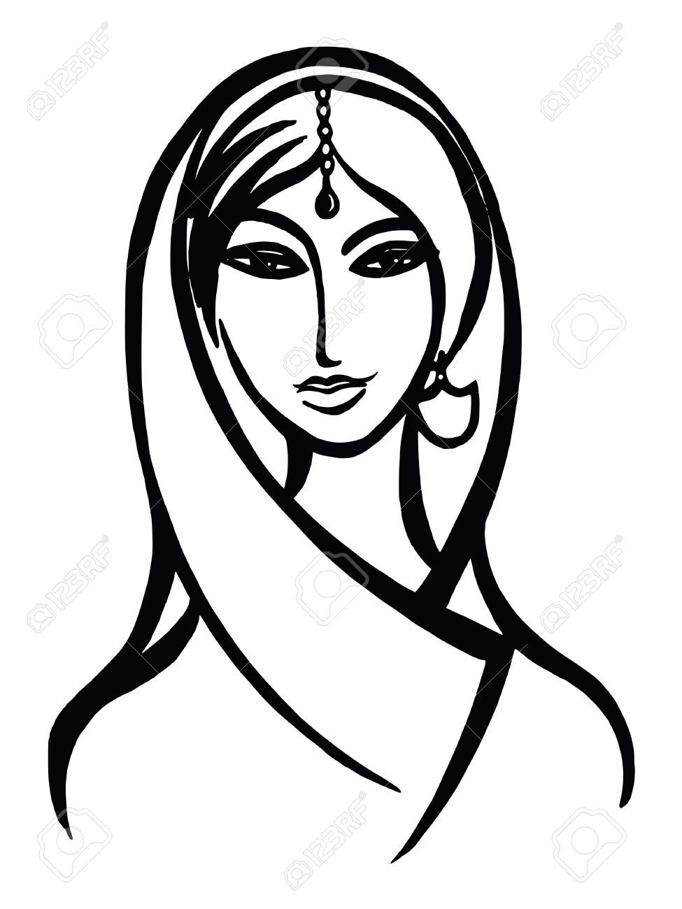 975x1300 Indian Woman Face Drawing