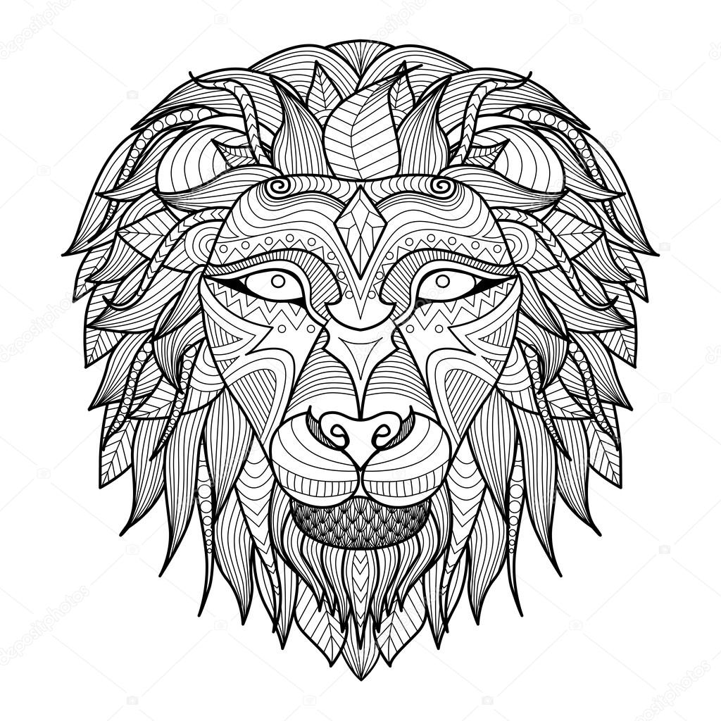 1024x1024 Ethnic Patterned Head Of Lion On White Background African