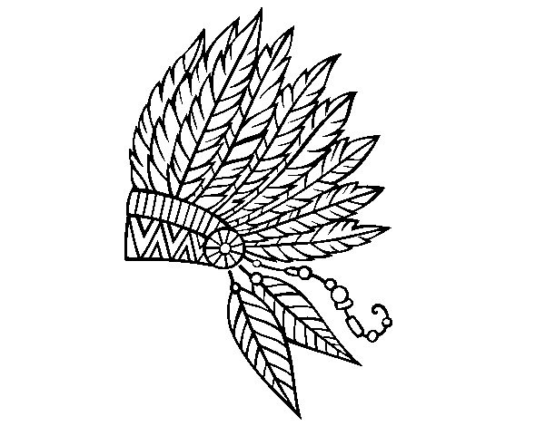 600x470 Indian Feather Crown Coloring Page