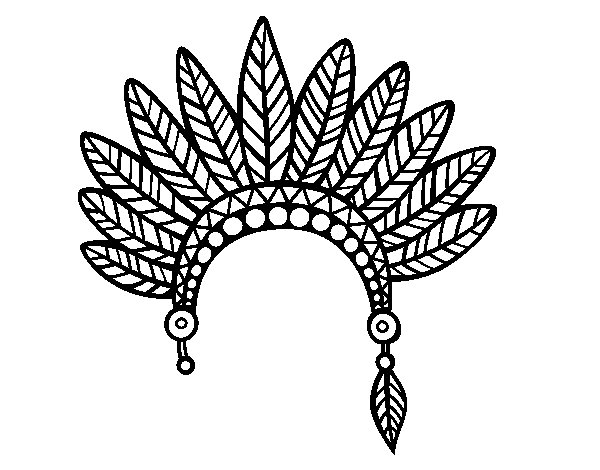 600x470 Indian Feather Crown Head Coloring Page