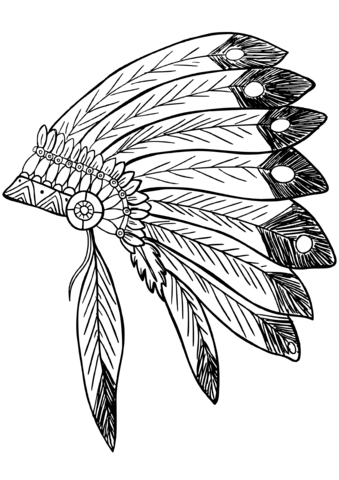 339x480 American Native Indian Feather Headress Coloring Page Free