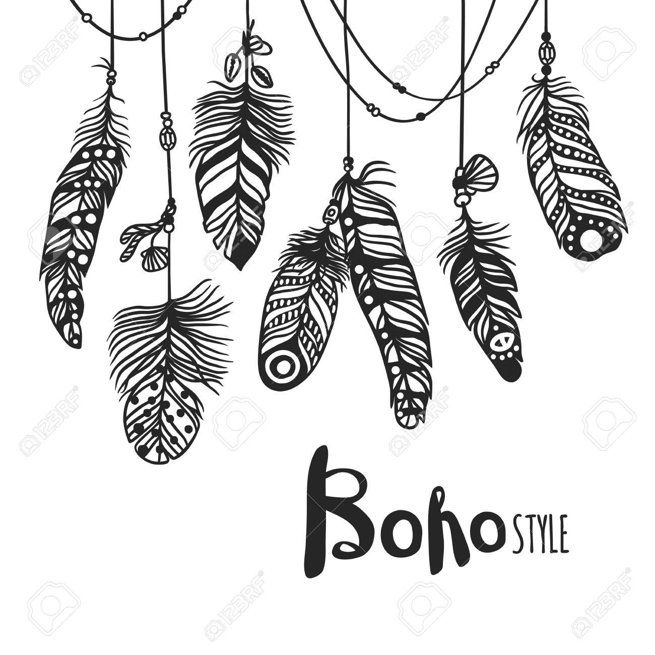 1300x1300 Boho Feather Hand Drawn Effect Vector Style Illustration. Vector