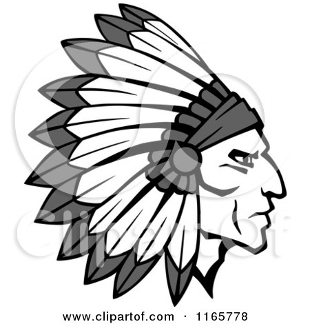 450x470 Clipart Of A Native American Brave With A Red And White Feather