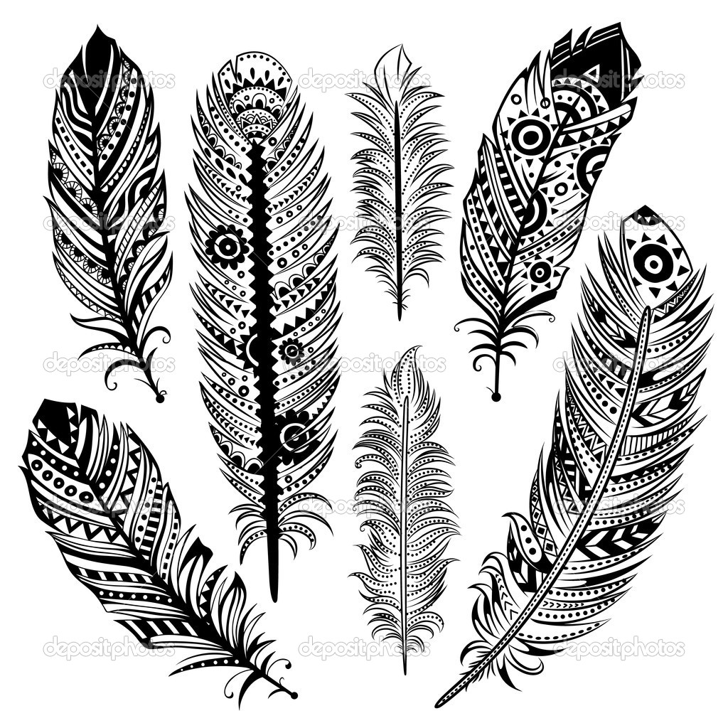1024x1024 Collection Of Set Of Black Ethnic Tribal Feathers Tattoo Designs