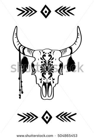 318x470 Drawn Bull Black And White