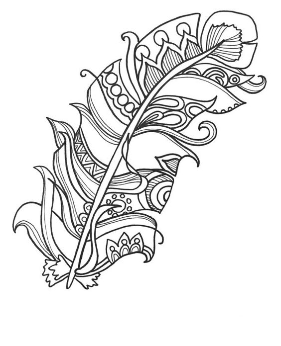 564x696 Feathers Coloring Pages