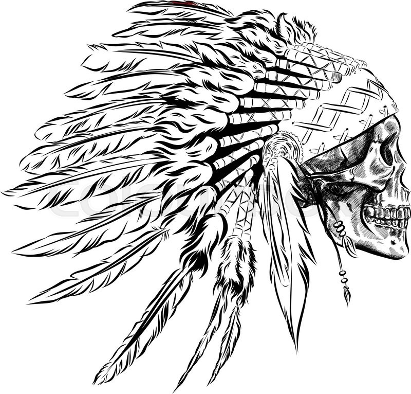 Great White Buffalo Native American Headdress Tattoo: Indian Feathers Drawing At GetDrawings.com