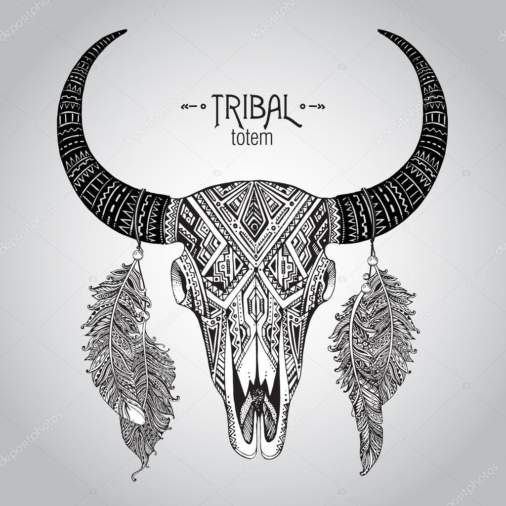 1024x1024 Hand Drawn Vector Illustration Of Bull Skull With Feathers