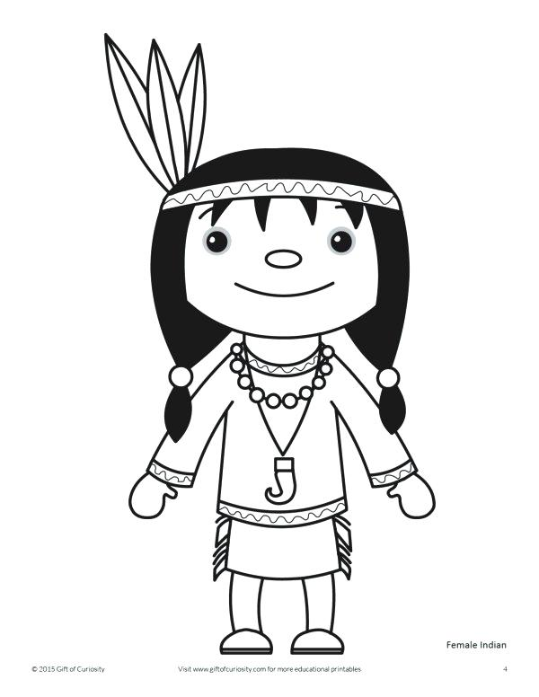 600x776 Thanksgiving Indian Girl Coloring Page Canoe Pages N Pictures