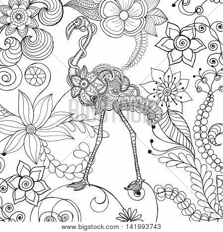 450x469 Flamingo Fantasy Flower Garden. Vector Amp Photo Bigstock