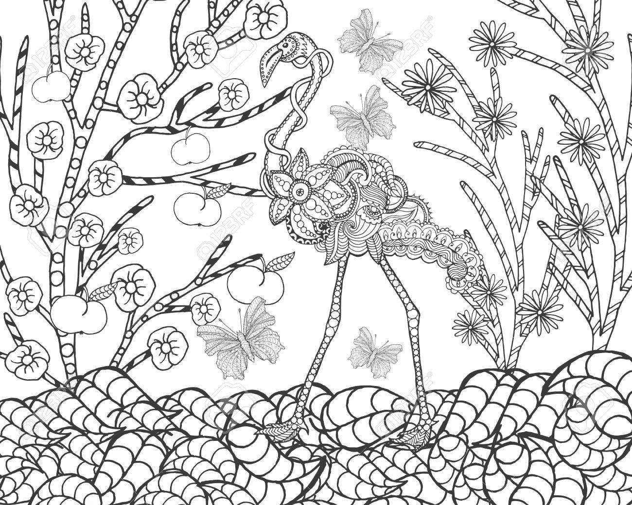 1300x1040 Flamingo In Flower Garden. Animals. Hand Drawn Doodle. Ethnic